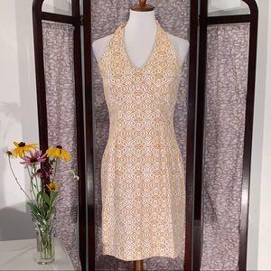 Jones brown and white halter dress.